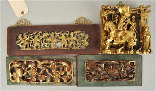 Group Four Chinese Carved/Gilt Panels