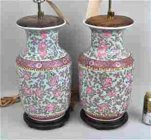 Pair Asian Style Vases Mounted As Lamps