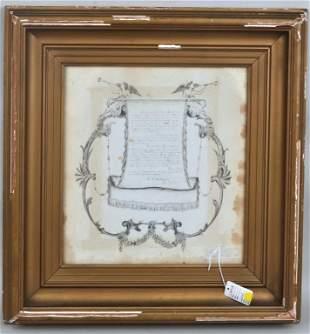 Framed Document, Pen & Ink Calligraphy & Art