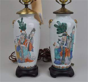Pair Chinese Porcelain Vases, As Lamps