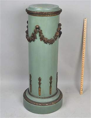 Painted Wood Bronze Mounted Neoclassical Pedestal