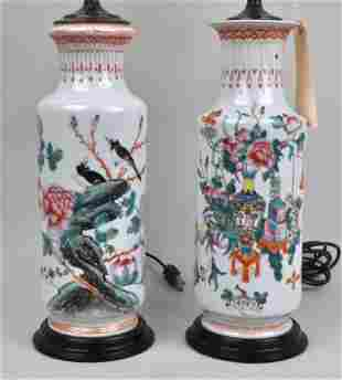 Near Pair Chinese Porcelain Vases, As Lamps