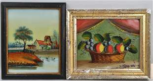 Two Small Framed Reverse Glass Paintings