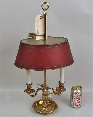 Brass Two Arm Bouillotte Lamp, Red Tole Shade