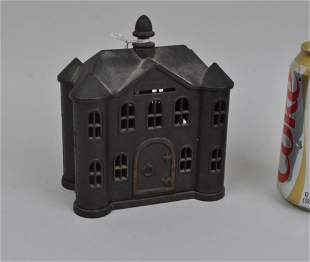 Vintage Castle Form Cast Iron Still Bank