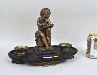Antique Bronze & Marble Figural Inkwell