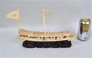 Carved Chinese Pleasure Boat/Stand