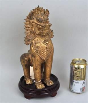 Southeast Asian Gilt Bronze Buddhist Lion