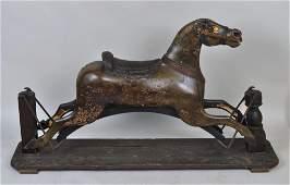 Folk Art Carved & Painted Child's Rocking Horse