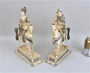 Large Pair Chinese Carved Mounted Warriors