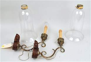 Pair Brass Single Arm Wall Sconces, Glass Shades