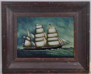 Framed Reverse Painting On Glass, Schooner
