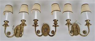 Group Three Neoclassical Style Brass Wall Sconces