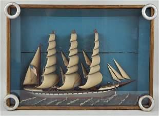 Clipper Ship Diorama In Nautical Shadowbox Frame
