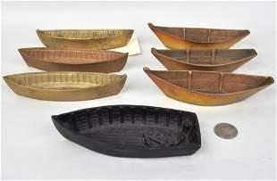 Seven Miniature Brass & Metal Dinghies