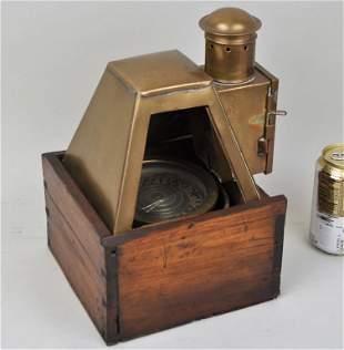 Brass & Wood Ship Gimbal Compass/Oil Lamp