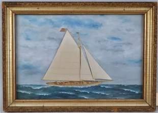 Attr T. Willis, Silk Work Painting Of Racing Sloop