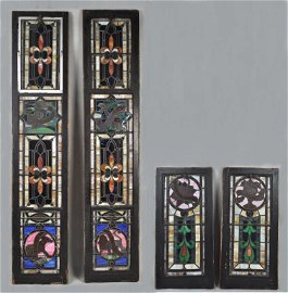 Important Group Four Stained Glass Panels