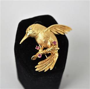 14K Gold Hummingbird Pin
