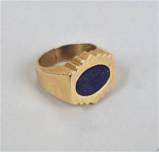 14K Gold & Lapis Men's Ring