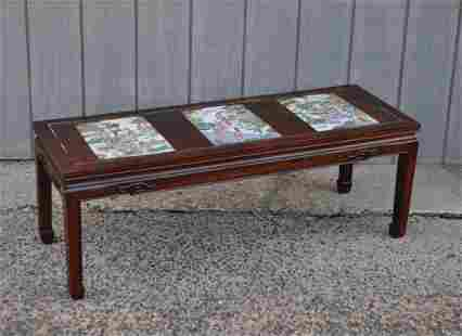 Chinese Low Table, Three Famille Rose Plaques