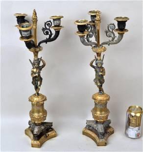 Two French Empire Gilt Bronze Figural Candelabra