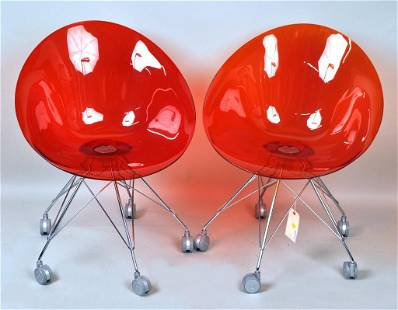 Pair MCM Colored Acrylic Chairs