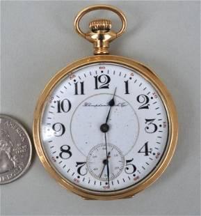 14K Gold Hampton Open Faced Pocket Watch
