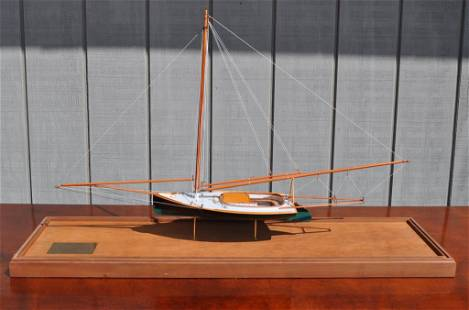 """Cased Ship Model of 1880 Sandbagger Ship """"Anna"""""""