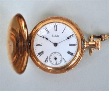 14K Gold Hunter Case Ladies Pocket Watch