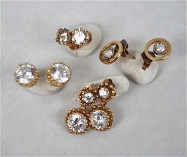 Four Pairs 14K Gold & Diamond Stud Earrings
