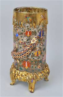 Moser Gilt/Polychrome Decorated Footed Vase