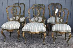Set Six Carved/Painted Venetian Dining Chairs