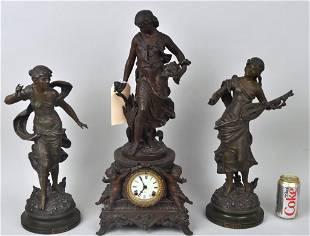 Three Piece Ansonia Spelter Mantle Clock Garniture