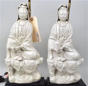 Pair Blanc de Chine Porcelain Figures, As Lamps