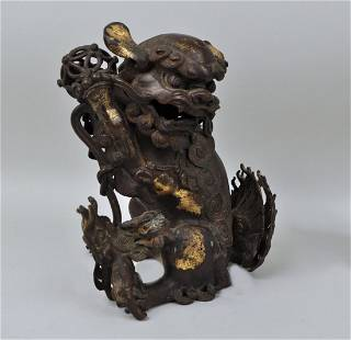 Early Chinese Gilt Bronze Foo Lion Form Censer