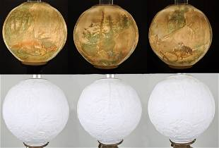 Floor Oil Lamp with Rare Lithophane Globe