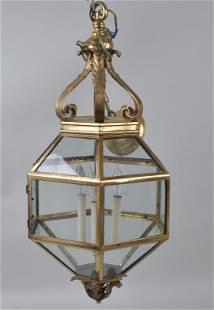 Antique Brass & Glass Three Light Hall Lantern