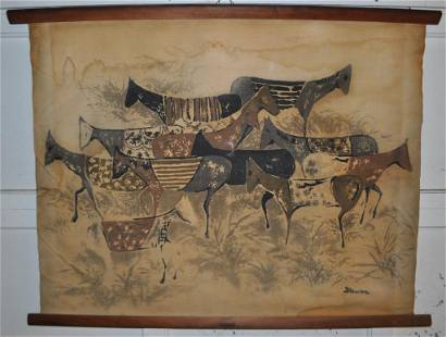 20th C. Scroll Painting - Wild Horses