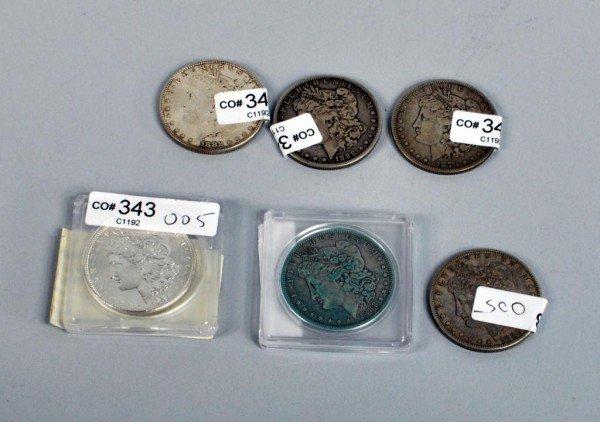 5: Six  Morgan Silver Dollars 1879 to 1896