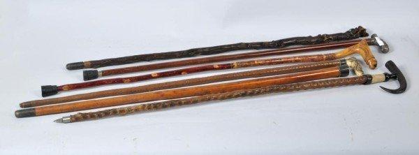 15: 6 Folk Art Canes, Walking Sticks Snake, Pug