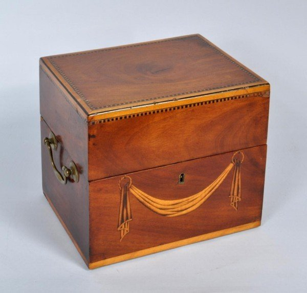 17: Federal Inlaid Mahogany Spirits Caddy