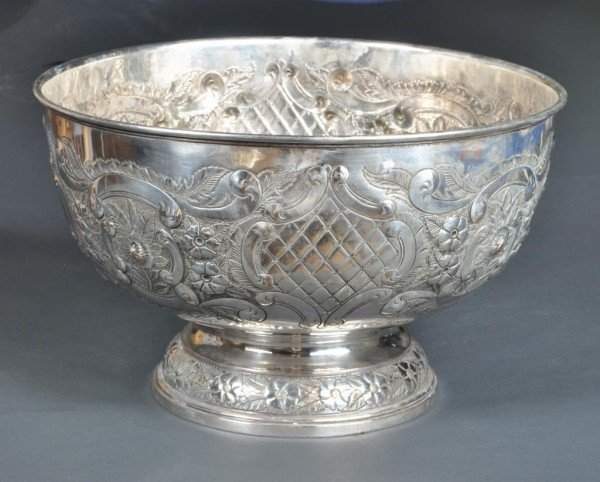 19: Sheffield Repousse Monteith Bowl, 19th C.