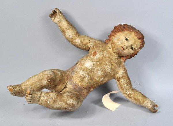 20: Carved Wood & Polychrome Putto