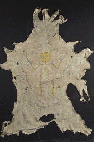 85: Framed Plains Indian Hide Painting
