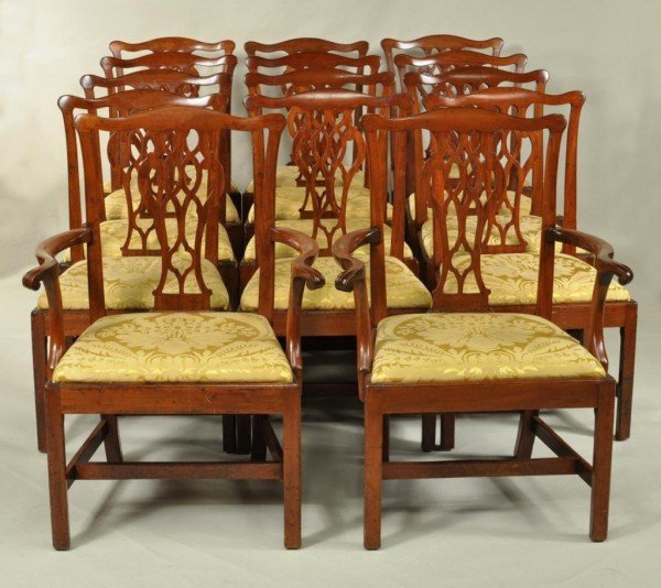 249: Set 14 New York Chippendale Dining Chairs