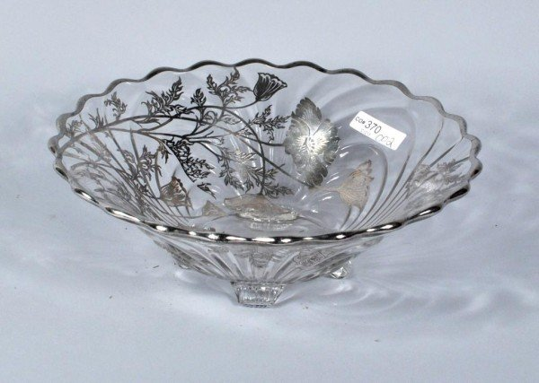3: Glass Bowl with Silver Overlay Design