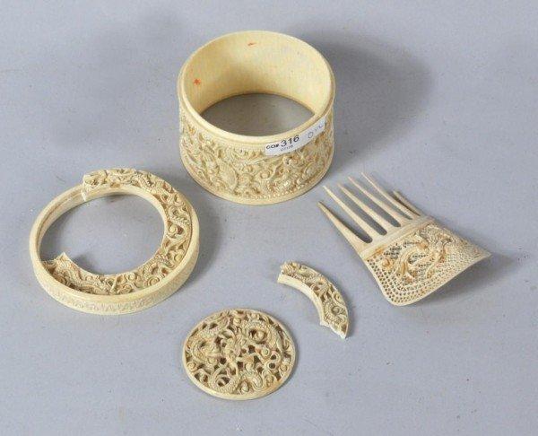 15: Ivory Box Parts, Ivory Hair Comb