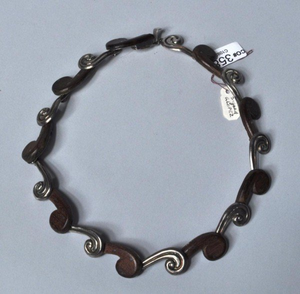 20: Wood & Silver Mexican Necklace, G. Lopez