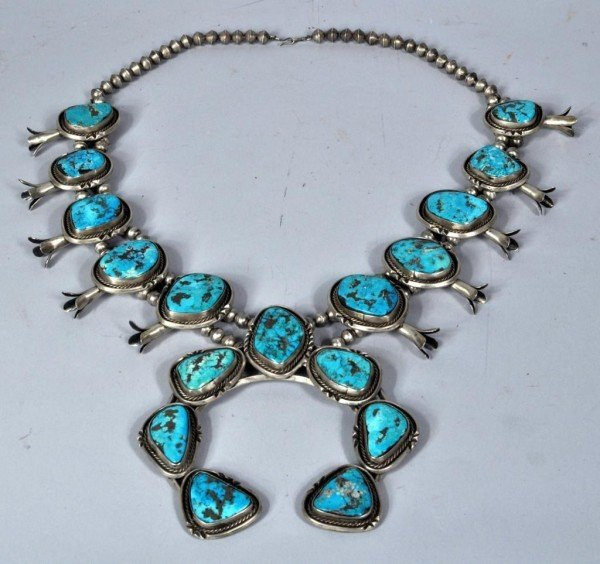 22: Massive Squash Blossom Turquoise Necklace